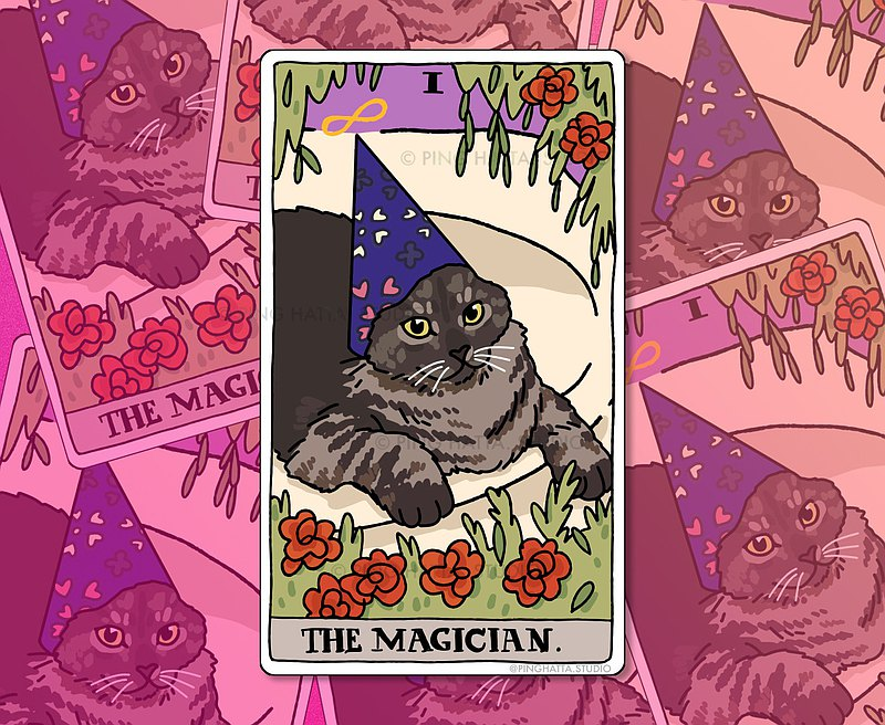 The Magician Tarot Wizard Cat Meme 模切貼紙套裝