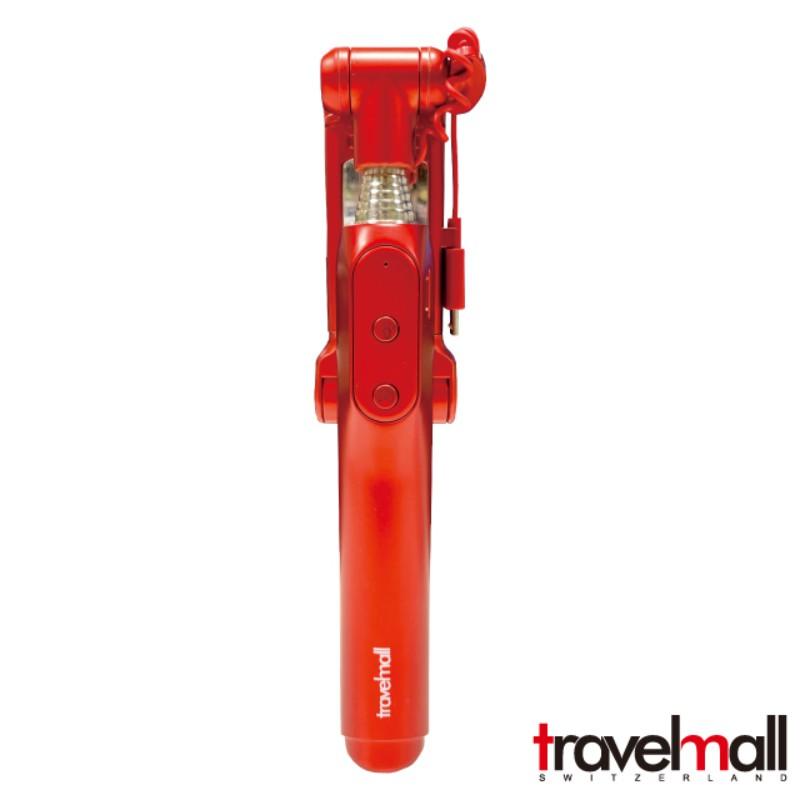 Travelmall 充電式藍芽自拍棒 三段補光燈自拍器-紅色 附贈收納袋和吊帶