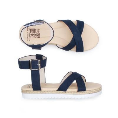 【台福製鞋】寬面交叉質感涼鞋-深藍(T3725)