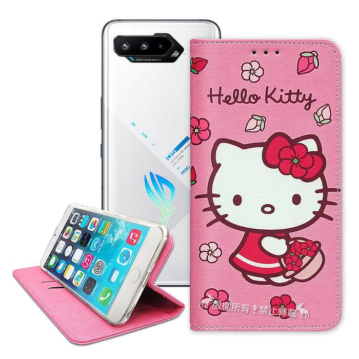 三麗鷗授權 Hello Kitty ASUS ROG Phone 5 ZS673KS 櫻花吊繩款彩繪側掀皮套