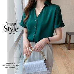 【GF 快時尚】經典款V領排扣顯瘦純色造型上衣(M~XL)
