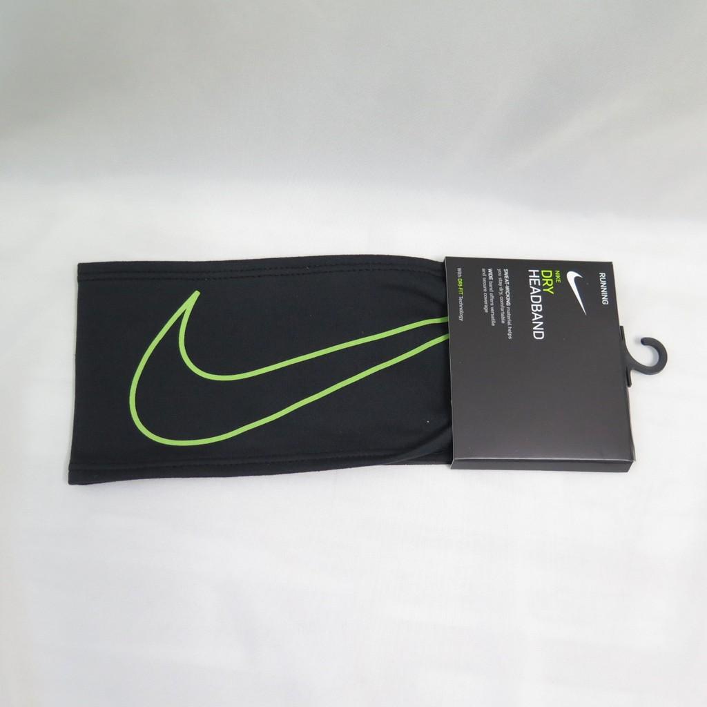 NIKE SWOOSH慢跑頭帶 運動頭帶 NRN51023OS 黑色螢光綠LOGO【iSport愛運動】