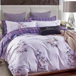 【情定巴黎】花樣瑞拉-100%40支絲光精梳純棉雙人四件式兩用被床包組1+1超值組