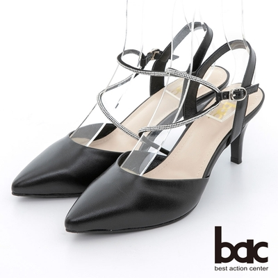 【bac】不對襯水鑽線條兩截式高跟鞋-黑