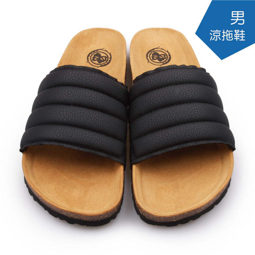 【A.MOUR 經典手工鞋】男涼拖鞋 - 黑(5025)