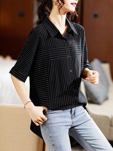 L-5XL胖妹妹大碼短袖棉衫短T~小視頻 2021韓版翻領條紋開衫襯衫短袖襯衣上衣女NB11G衣時尚