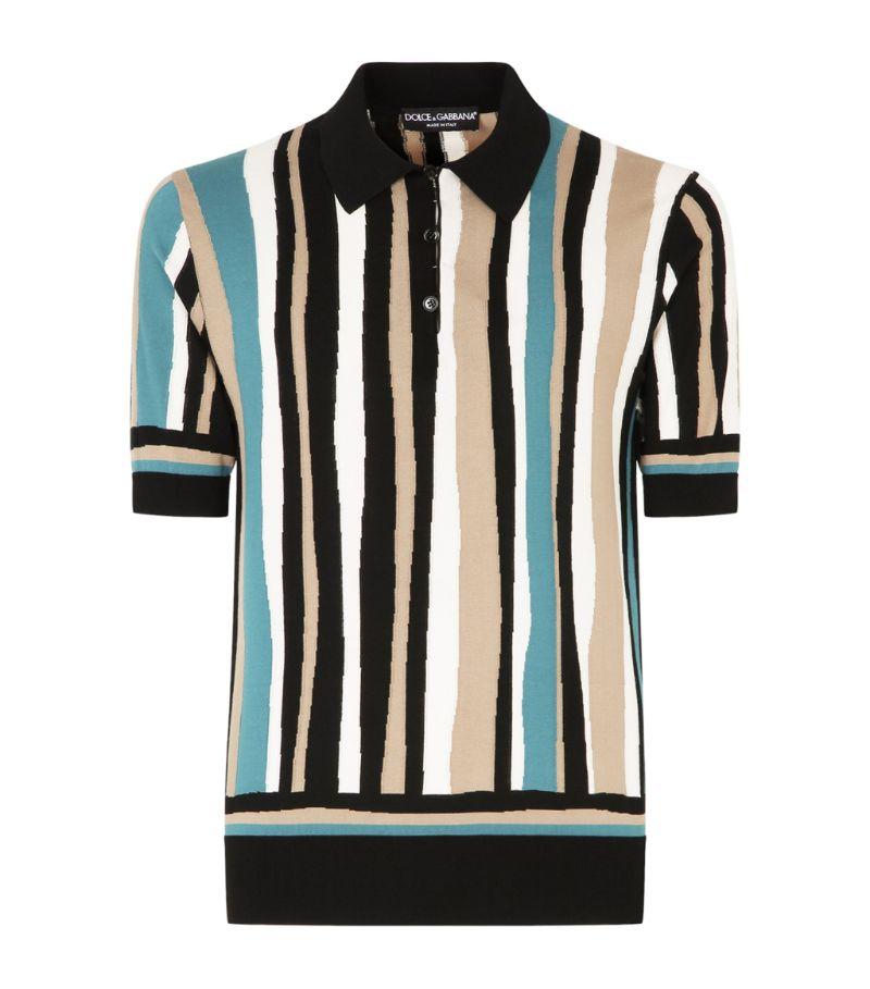 Dolce & Gabbana Silk Striped Polo Shirt