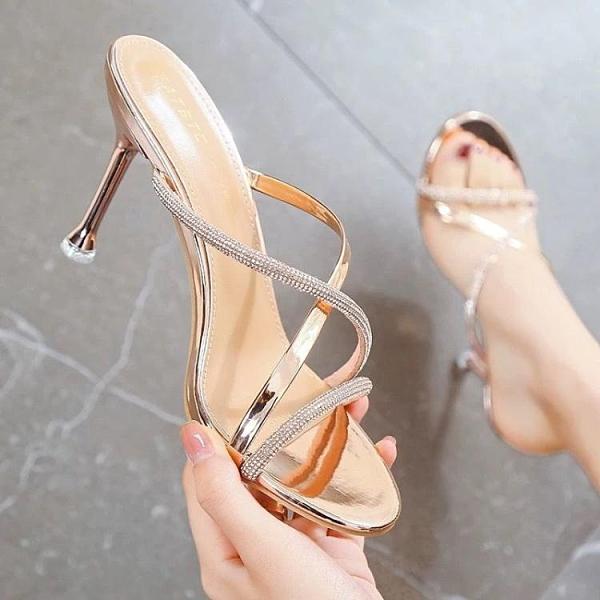 高跟拖鞋 水鉆高跟涼鞋女細跟露趾2021夏季新款百搭一字帶半拖鞋外穿網紅