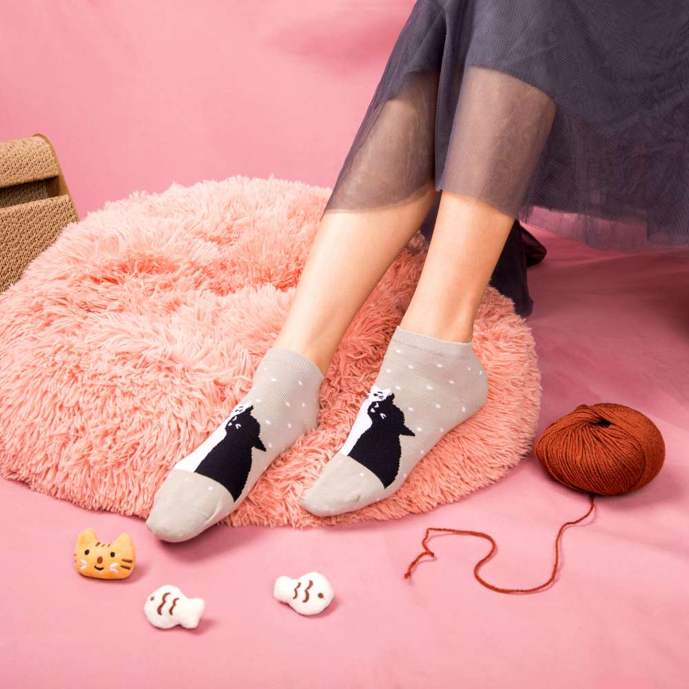 擁感愛你-短筒襪-點點灰(S6601413M)