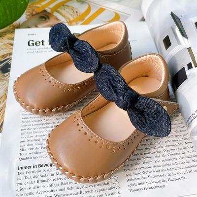 Swan天鵝童鞋-小童單寧牛仔布蝴蝶結寶寶學步鞋 1634咖