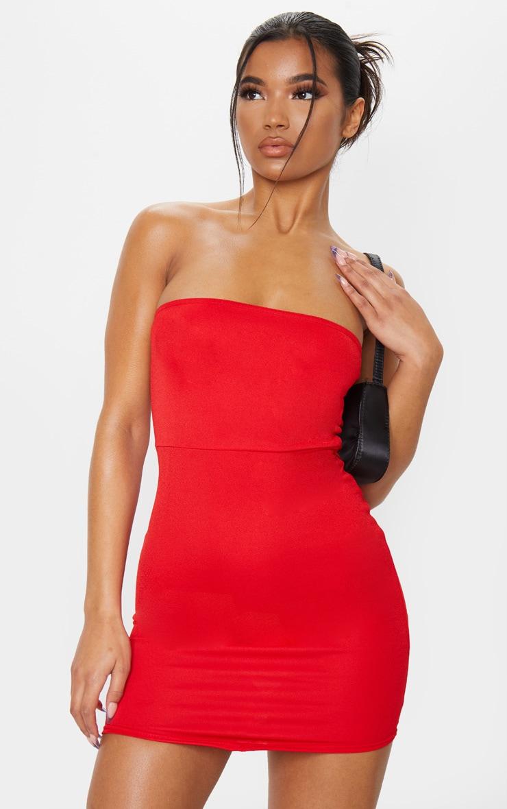 Red Pointy Hem Bandeau Bodycon Dress