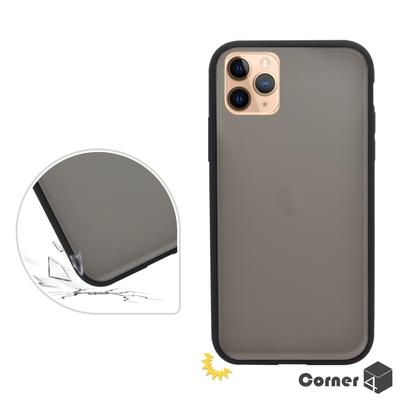 Corner4 iPhone 11 Pro Max 6.5吋柔滑觸感軍規防摔手機殼-黑