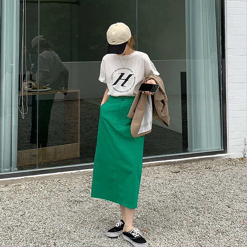 IELGY 包臀半身裙女2021年夏季新款韓版高腰顯瘦中長款一步裙A字裙裙