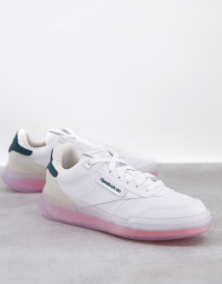 Reebok Club C Legacy trainers in white with coral sole