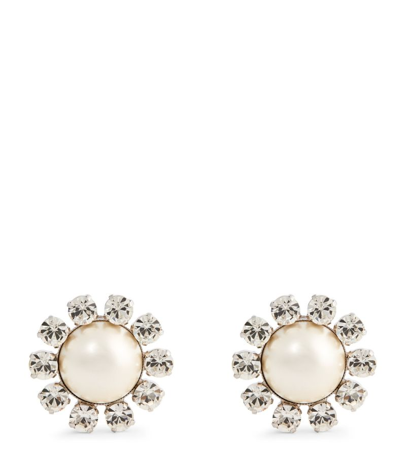Alessandra Rich Crystal And Pearlescent Bead Clip-On Earrings
