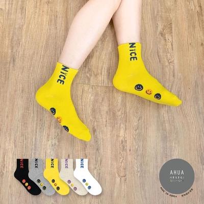 阿華有事嗎  韓國襪子 NICE三個微笑小圖中筒襪  韓妞必備 正韓百搭純棉襪