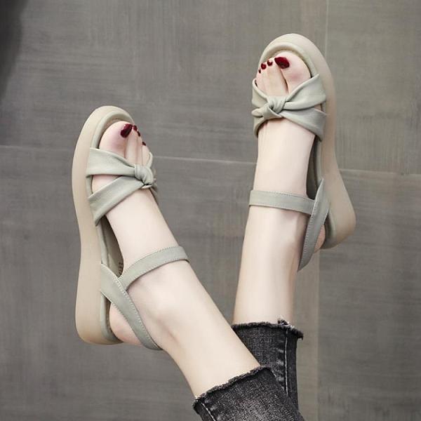 平底涼鞋 厚底涼鞋女2021年新款夏季平底女鞋一字帶軟底軟皮仙女風沙灘涼鞋 維多原創