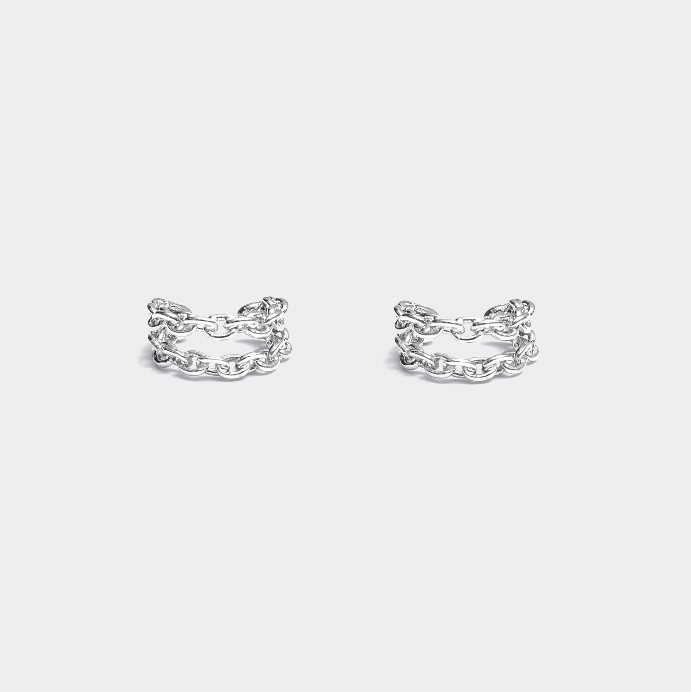 【預購】雙層繫環鍊耳扣 (亮銀)