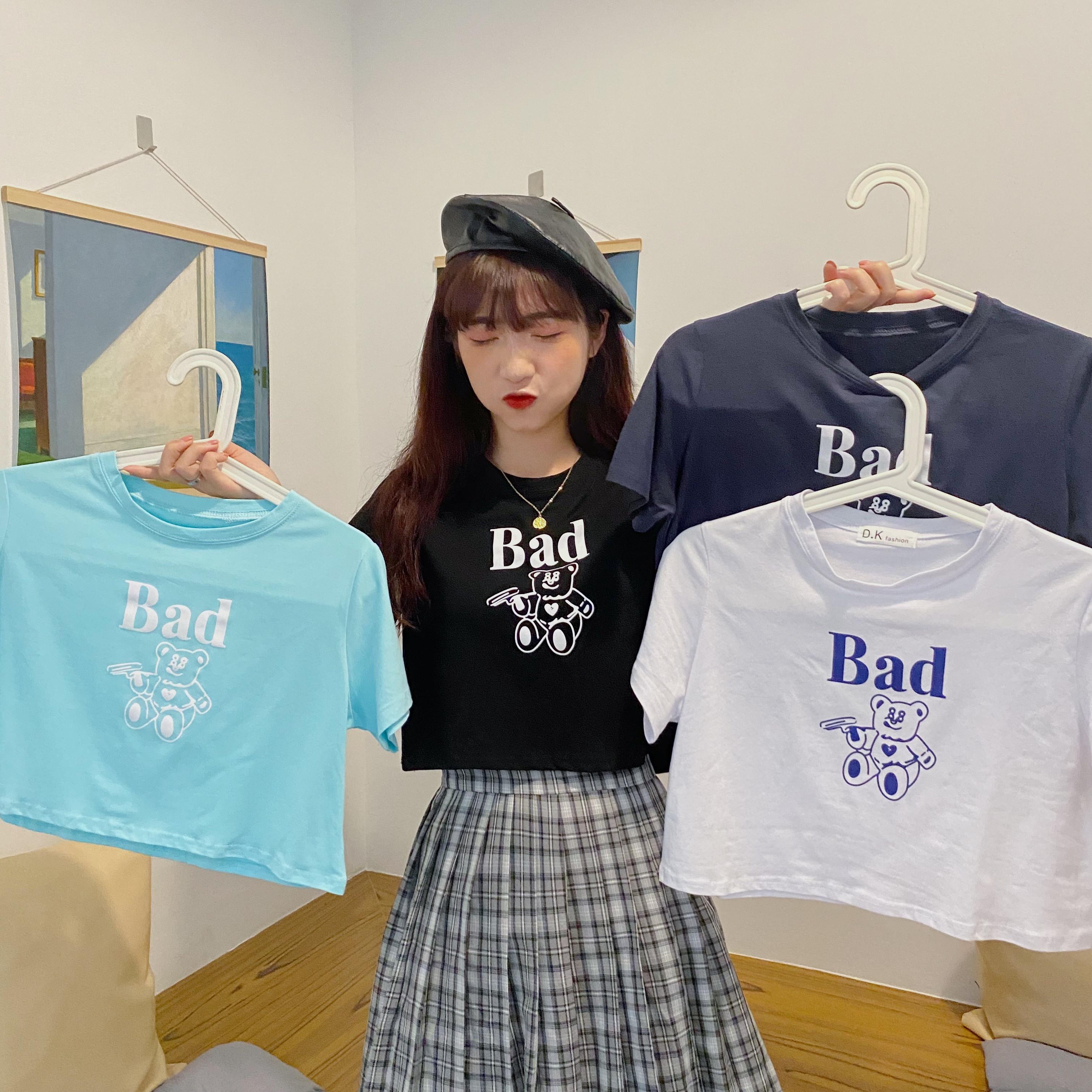 43389小熊印花寬鬆短袖短款T恤