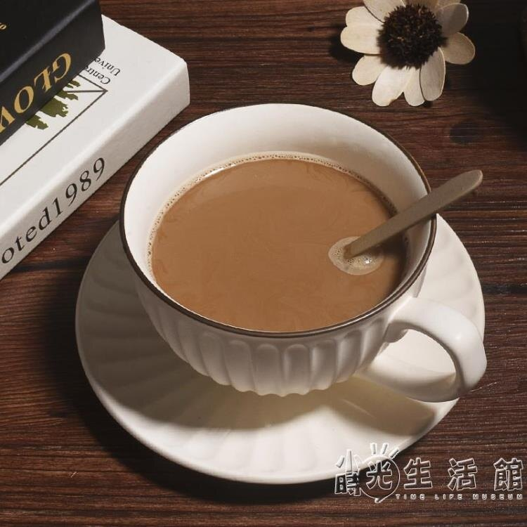 復古創意馬克杯子粗陶家用大口拉花杯早餐辦公室日式咖啡水杯帶碟 摩可美家