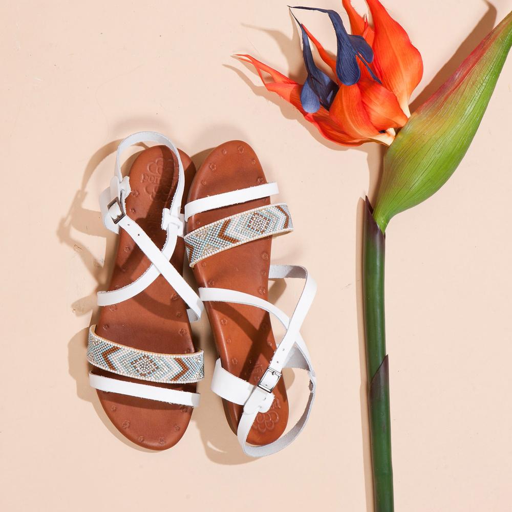 FAIR LADYPORRONET民族風串珠皮革繞帶平底涼鞋  白 (122065)
