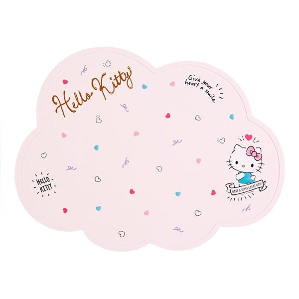 小禮堂 Hello Kitty 造型矽膠餐墊 矽膠桌墊 防滑餐墊 兒童餐墊 (粉 2021炎夏企劃) 4550337-58641