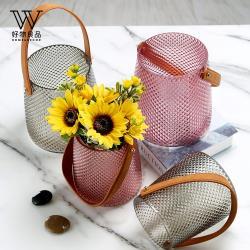 【好物良品】北歐皮革手提玻璃插花花瓶花器(大尺寸 直徑15.5×高18cm)花藝 花瓶 花器 餐桌擺飾 插花裝飾