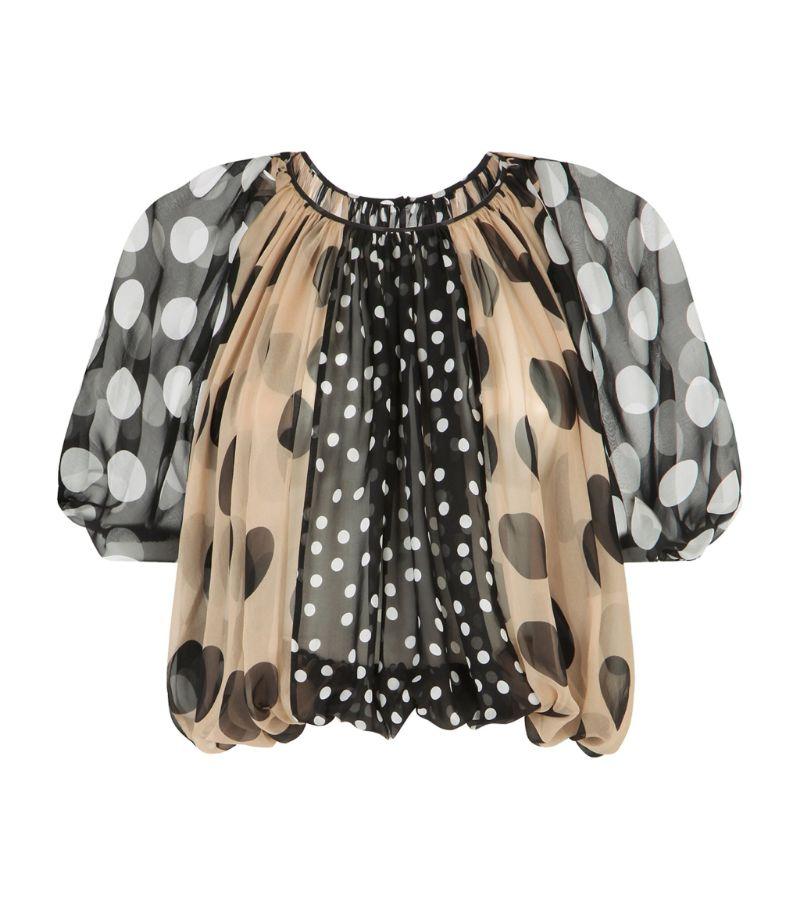 Dolce & Gabbana Silk Polka-Dot Print Blouse