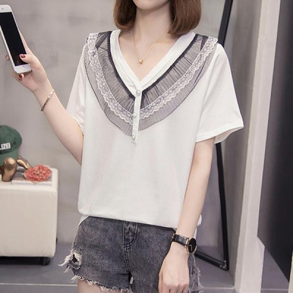 XL-4XL胖妹妹大碼短T~2298大碼女裝胖mm200斤V領拼接蕾絲短袖T恤5F026衣時尚