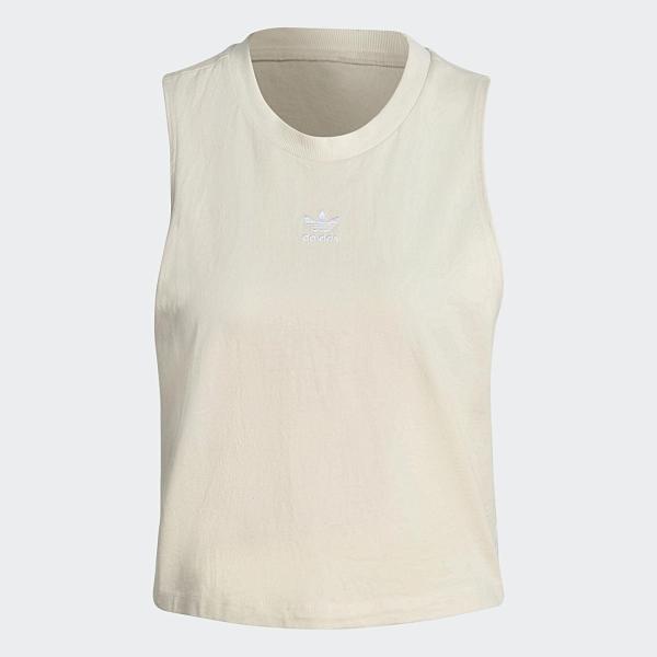 Adidas Originals 背心 短版 小可愛 三線 奶白 燕麥 米白 GN2845
