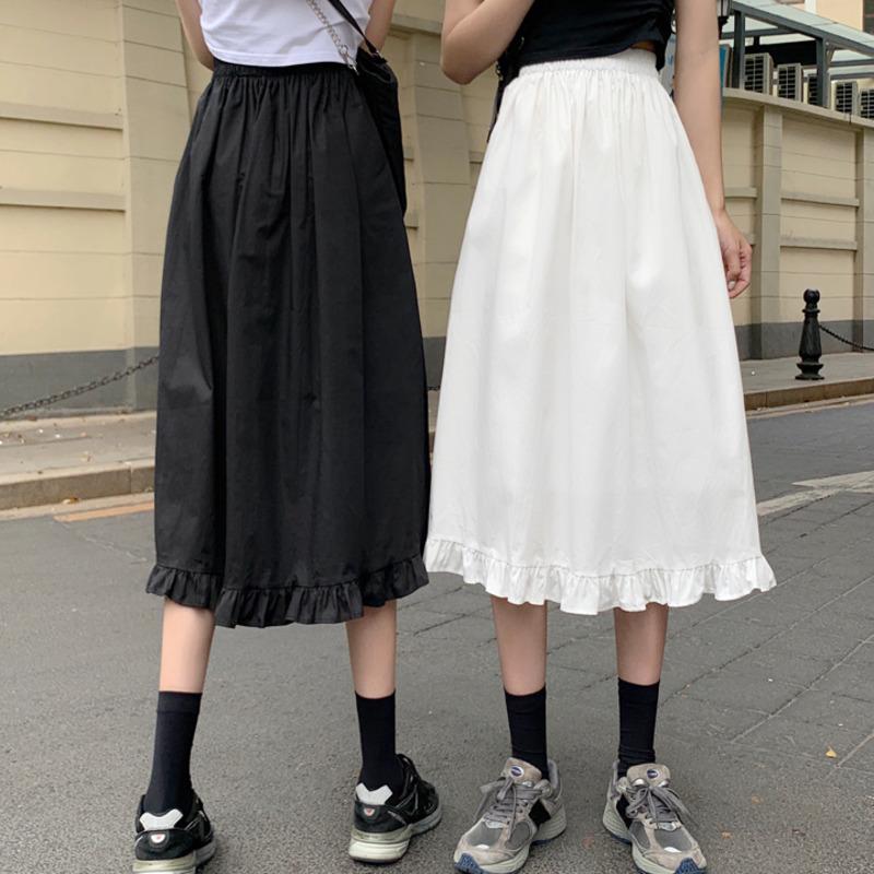 氣質款素面半身裙女 時尚減齡夏季新款溫柔風荷葉邊a字裙少女初戀裙中長款過膝裙大擺裙a字裙