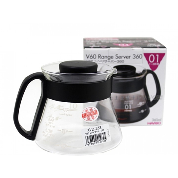 【沐湛咖啡】HARIO V60 耐熱玻璃壺 1~3杯用 360ml 咖啡壺 XVD-36 手沖下座玻璃壺 可搭配v60