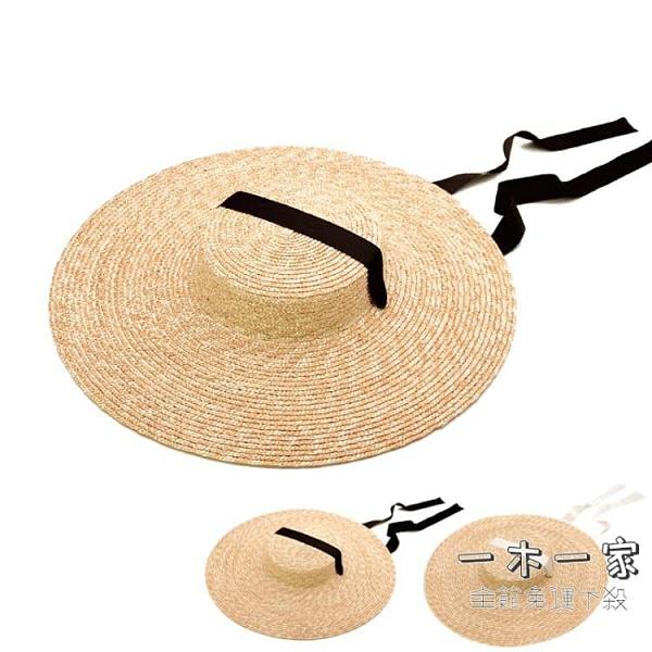 草帽 赫本風優雅時尚大檐平頂麥稈大草帽子女夏季度假沙灘太陽帽旅游-一木一家