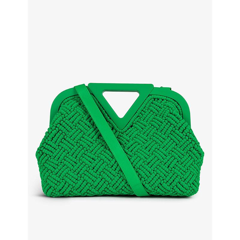 Point textured cotton-blend top handle bag