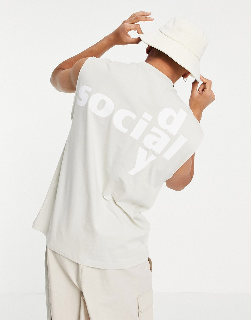 ASOS Daysocial oversized vest with back logo print in pale grey