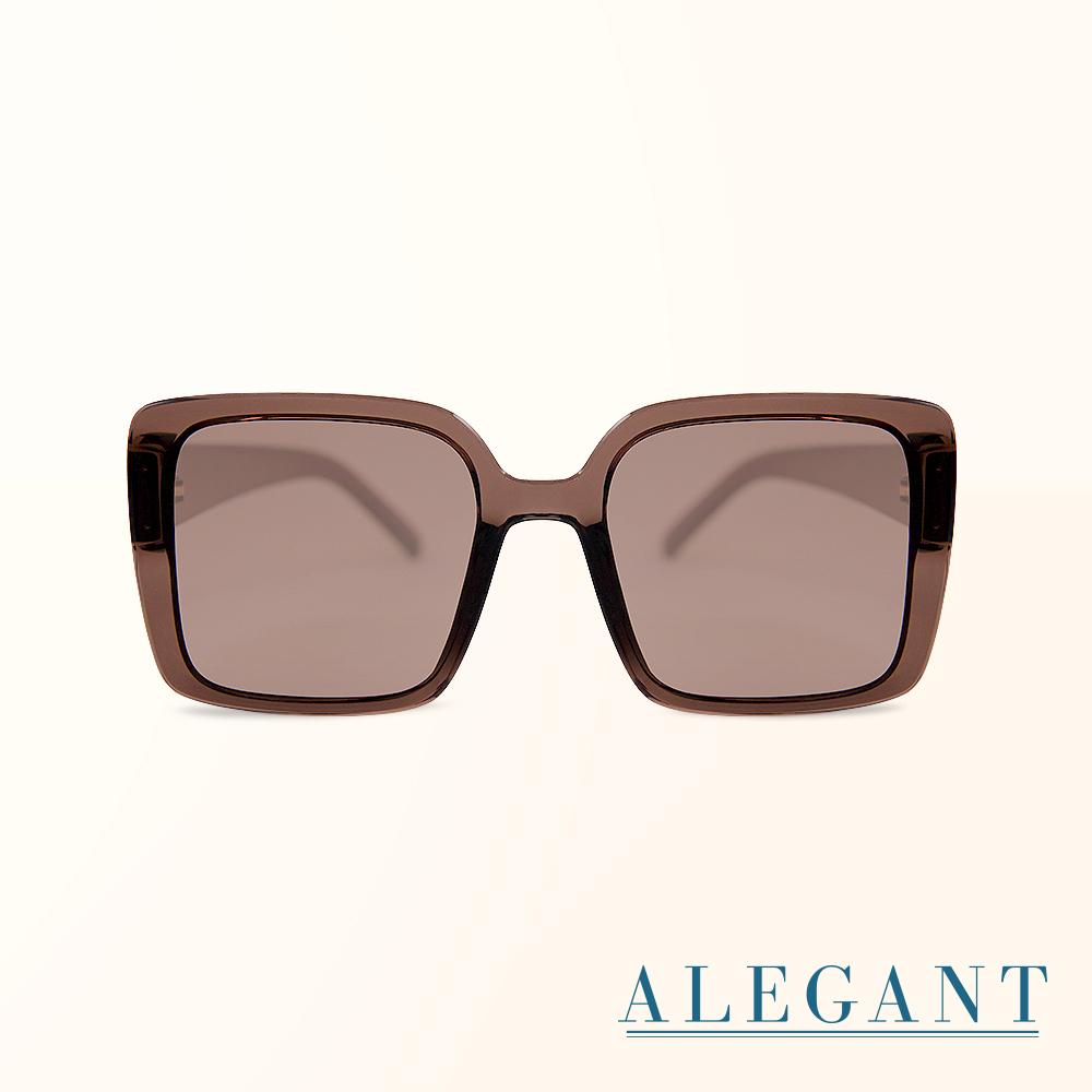 【ALEGANT】韓版微光核桃棕透視感方框墨鏡/UV400太陽眼鏡