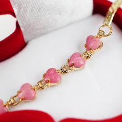 丹莉珠寶天然玫瑰石愛心造型金手鍊