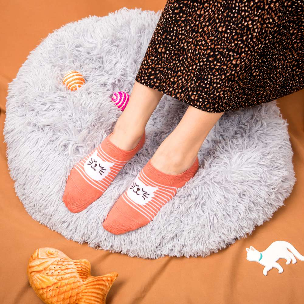 翠玉白喵-踝襪-紅貴氣(S6600621M)