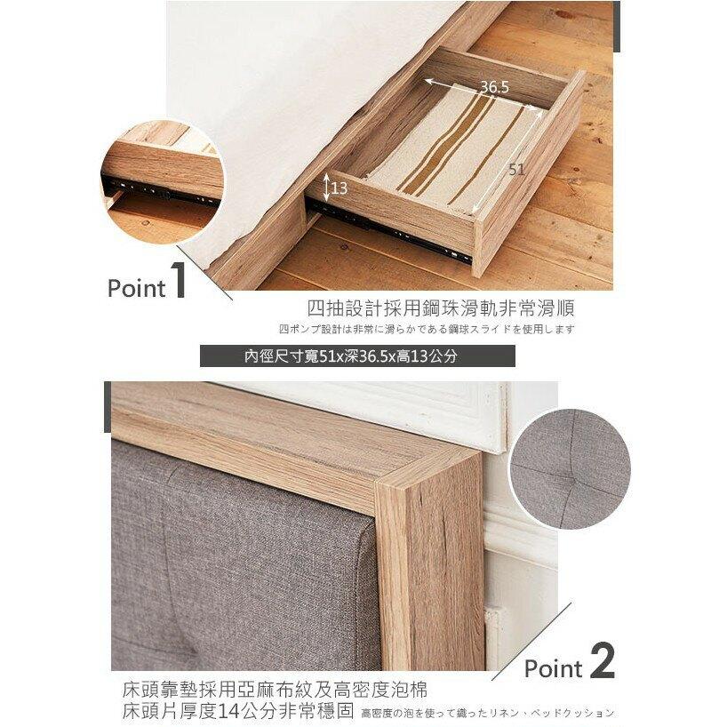 奧爾頓橡木5尺床片型3件組-床片+床底+床頭櫃