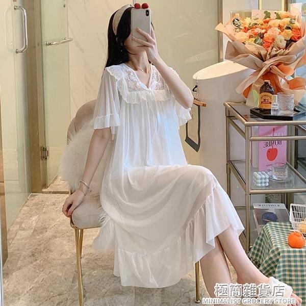 宮廷風公主睡裙夏季薄款甜美可愛莫代爾睡衣性感網紗夏天家居服裙 極簡雜貨