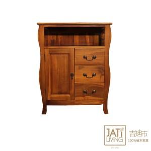 【吉迪市柚木家具】柚木造型大三抽邊櫃 HY084C柚木造型大三抽邊櫃