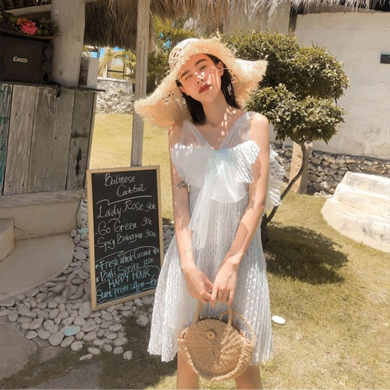 短洋裝吊帶連身裙-露背蕾絲網紗收腰女裙子74ag45【獨家進口】【米蘭精品】