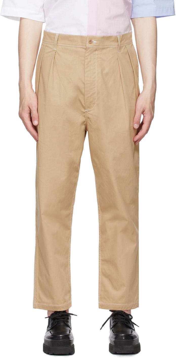 Maison Kitsuné 驼色 2 Pleats 长裤