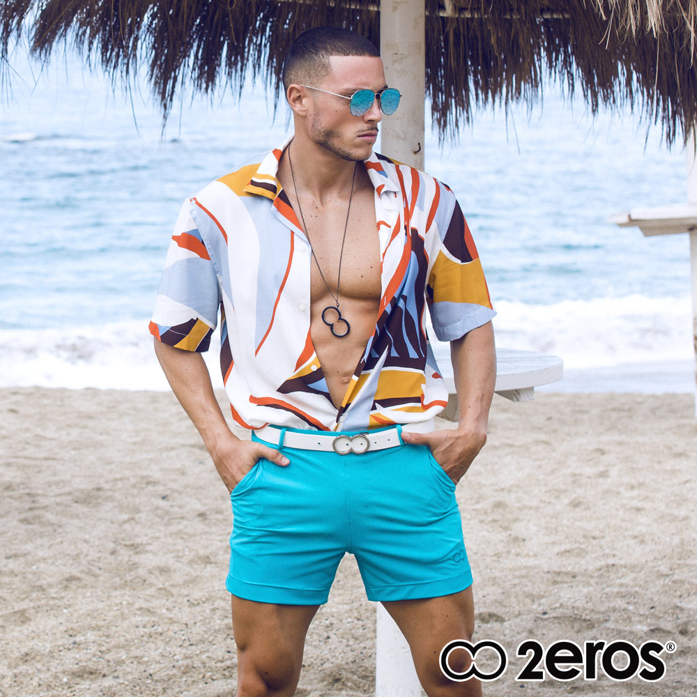 ★新寵兒★限時8折★2EROS 邦迪Bondi系列3後拉鍊口袋多功能男短褲(藍色),L2-S6061AQB2