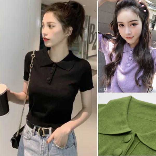 韓版polo冰絲針織露肚臍短袖T恤顯瘦小香風泫雅風短版心機上衣ins風(3色)-凱西娃娃