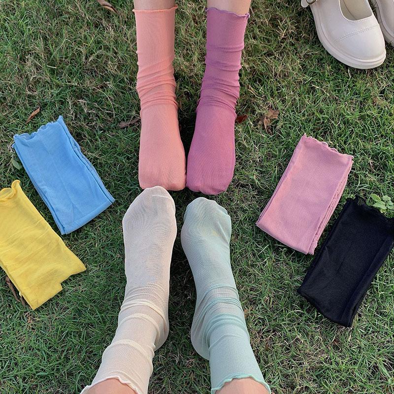 IELGY 襪子女ins潮春秋日系可愛網紗堆堆襪薄款學生純色百搭網紅中筒