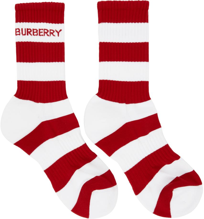 Burberry 红色 & 白色 Sport 条纹中筒袜