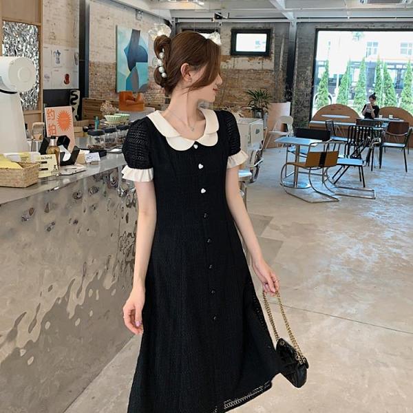 小洋裝 連身裙好質量夏季法式花瓣領赫本風拼接中長復古黑色連身裙FFA027韓衣裳