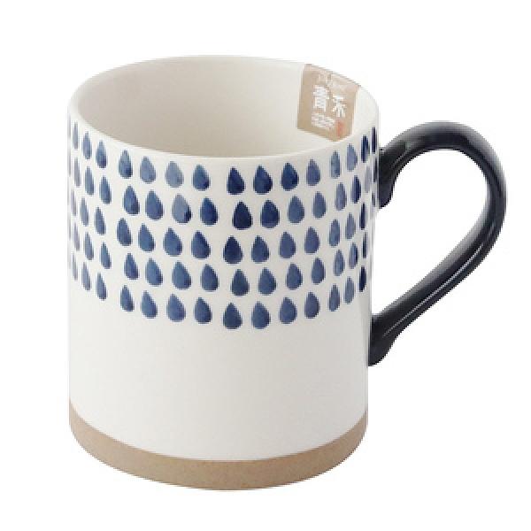 日式青禾陶瓷馬克杯420ml 雨點