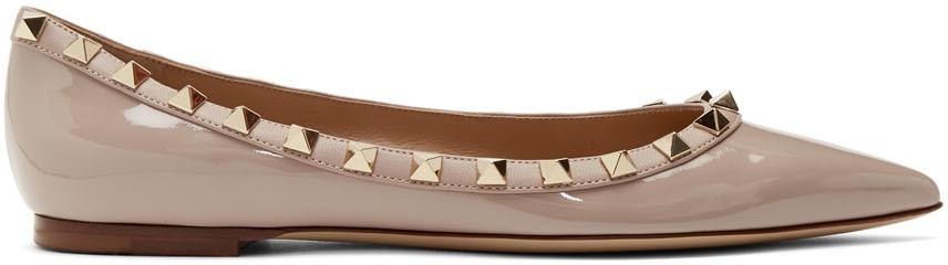 Valentino 粉色 Valentino Garavani 系列 Rockstud 漆皮芭蕾鞋